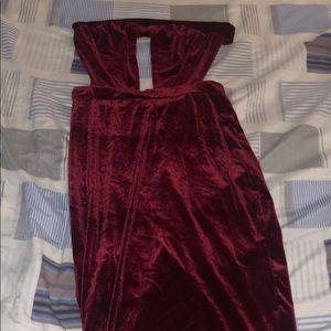 Burgundy Velvet Out for the Night Dress